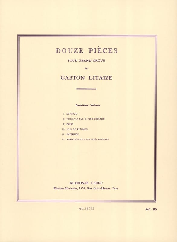 Gaston Litaize - 12 pieces. Volume 2 - Partition - di-arezzo.co.uk