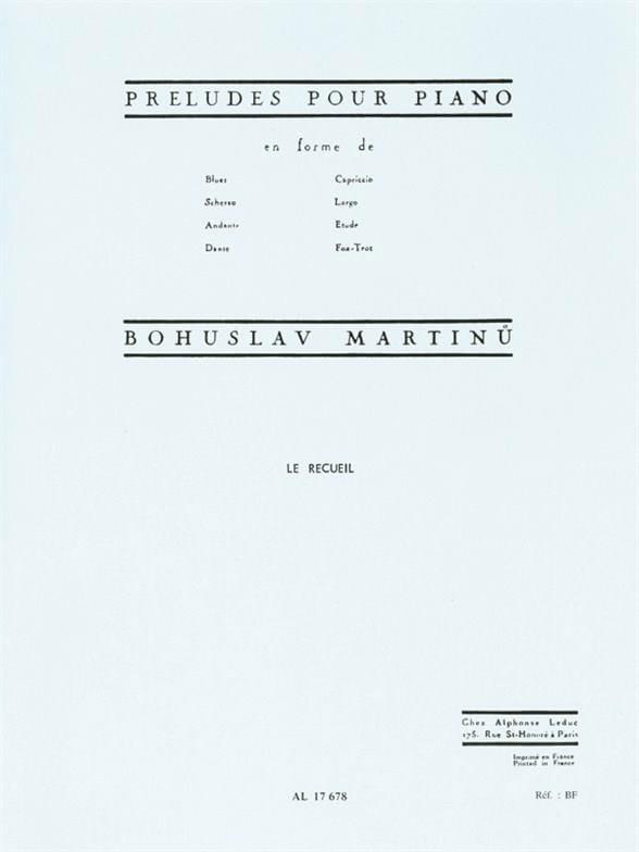 Bohuslav Martinu - Preludes in the form of ... - Partition - di-arezzo.co.uk
