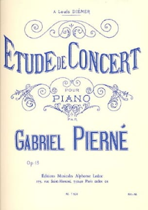 Gabriel Pierné - Concert Study Opus 13 - Partition - di-arezzo.co.uk