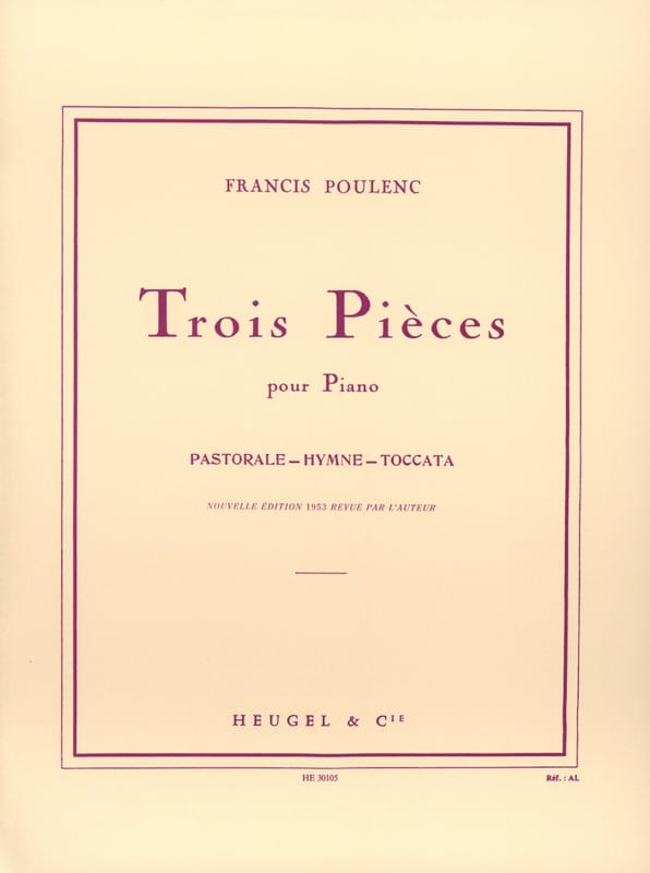 Francis Poulenc - 3 pieces - Partition - di-arezzo.co.uk