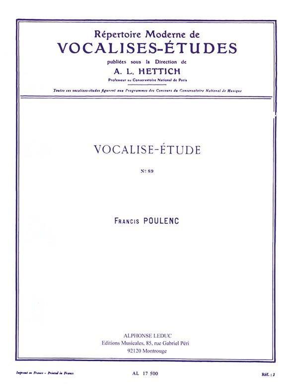 Vocalise Etude N° 89 - Francis Poulenc - Partition - laflutedepan.com