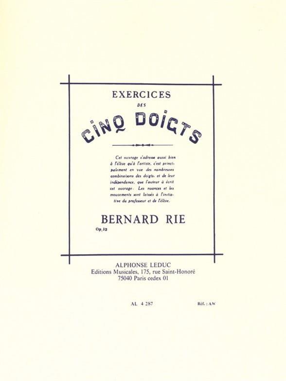 Exercices des 5 Doigts - Opus 32 - Bernard Rié - laflutedepan.com
