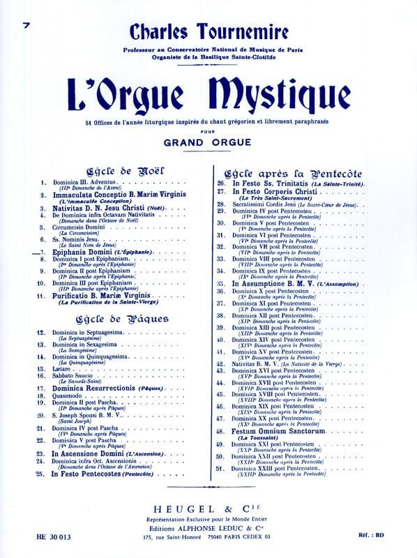 Epiphanie. Orgue Mystique 7 - Charles Tournemire - laflutedepan.com
