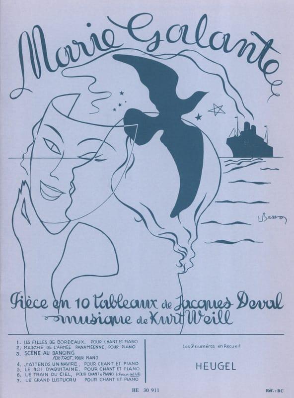 Kurt Weill - Marie Galante - Partition - di-arezzo.fr