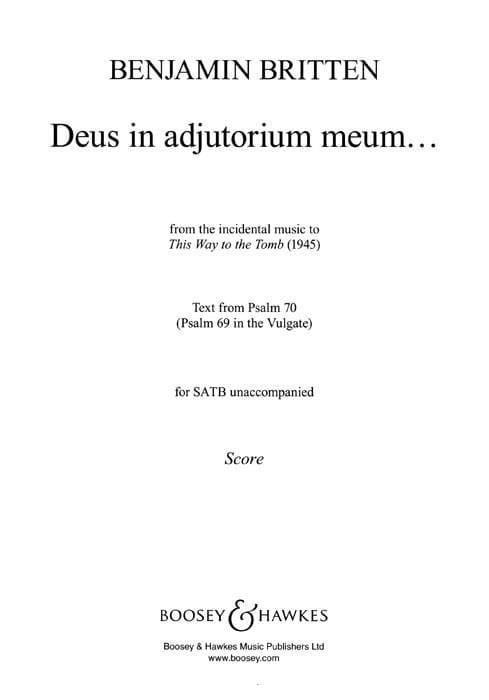 Deus In Adjutorium Meum - BRITTEN - Partition - laflutedepan.com