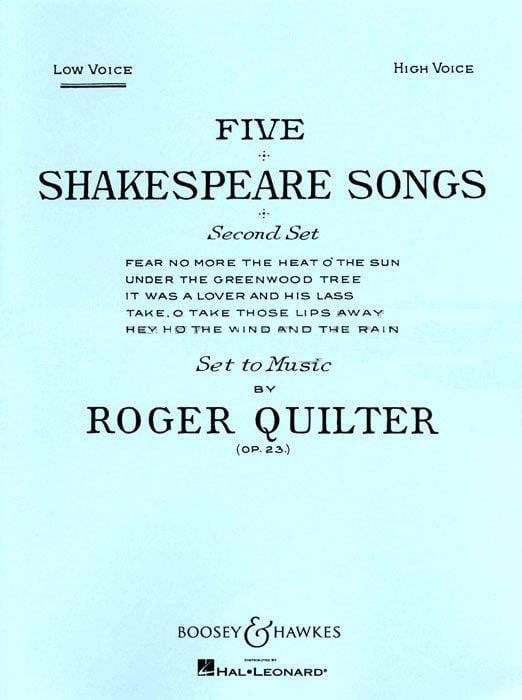 Roger Quilter - 5 Shakespeare Songs Opus 23. Serious Voice - Partition - di-arezzo.com