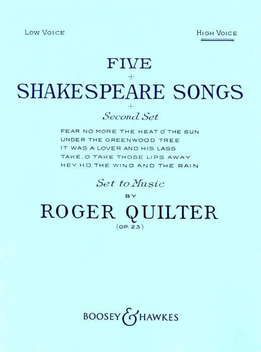 Roger Quilter - 5 Shakespeare Songs Opus 23. High Voice - Partition - di-arezzo.com