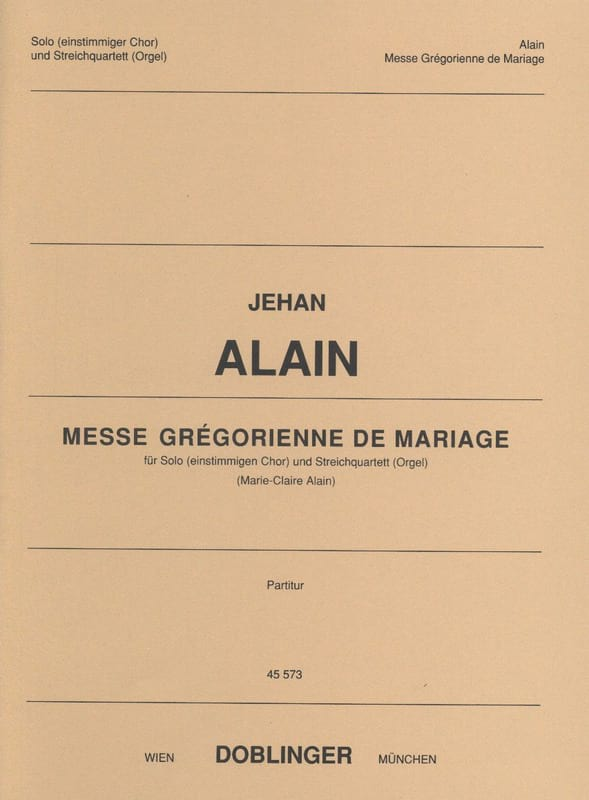 Jehan Alain - Gregorian Mass of Marriage - Partition - di-arezzo.com