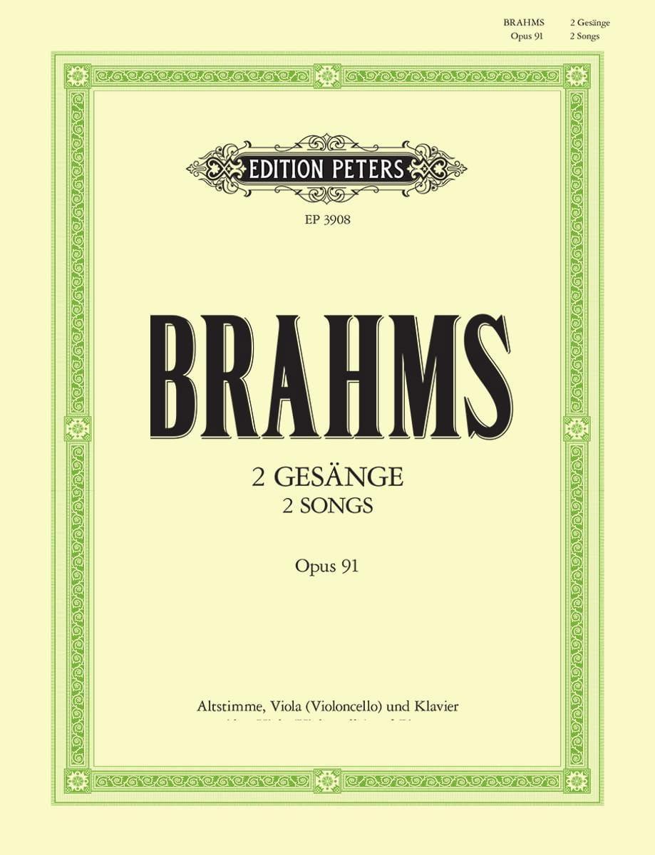 2 Gesänge Opus 91 - BRAHMS - Partition - Alto - laflutedepan.com