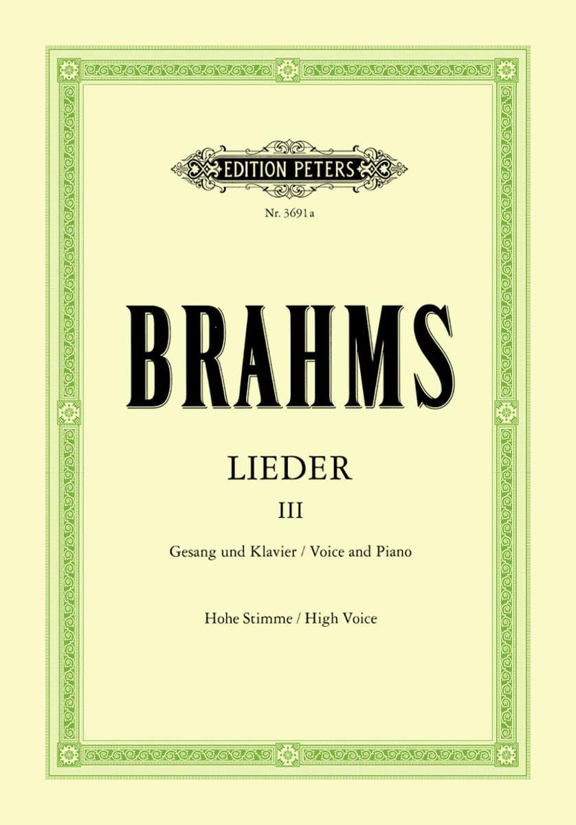 BRAHMS - Lieder Volume 3. High Voice - Partition - di-arezzo.co.uk