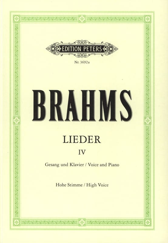 BRAHMS - Lieder Volume 4 High Voice - Partition - di-arezzo.co.uk