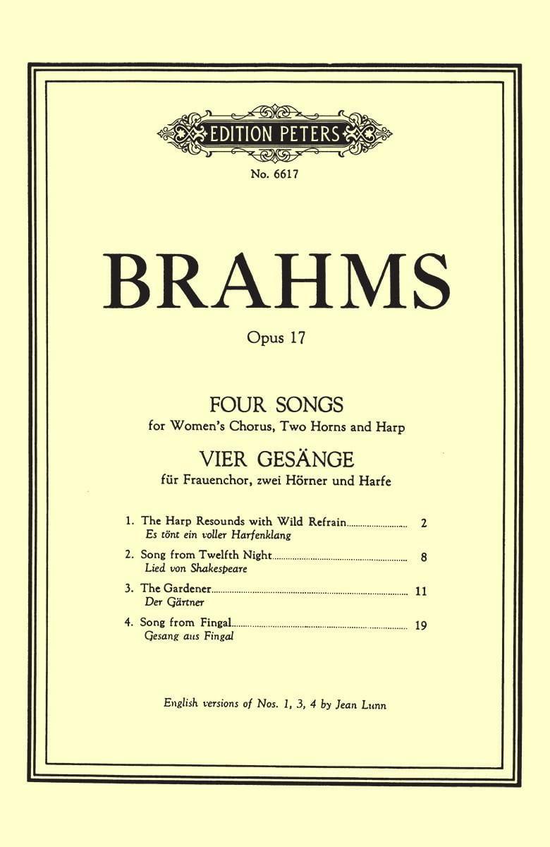 4 Gesänge Opus 17 - BRAHMS - Partition - Chœur - laflutedepan.com