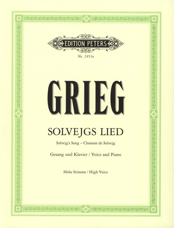 Edward Grieg - Solvejg's Song High Voice. Peer Gynt - Partition - di-arezzo.com