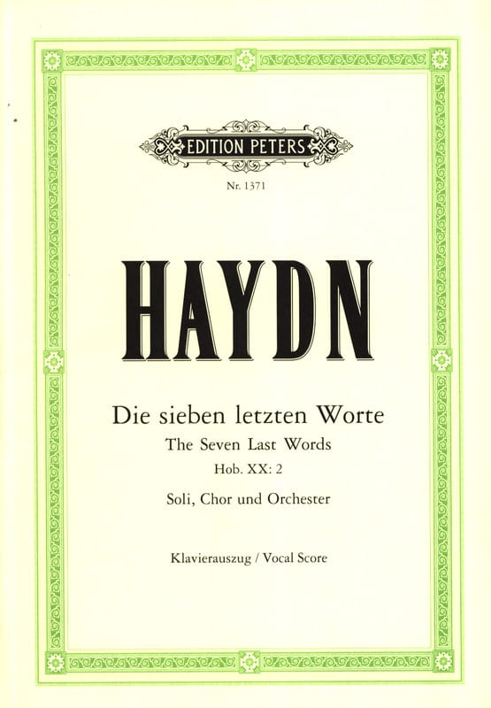 HAYDN - The 7 Last Words Of Christ In Cross Hob 20-2 - Partition - di-arezzo.co.uk