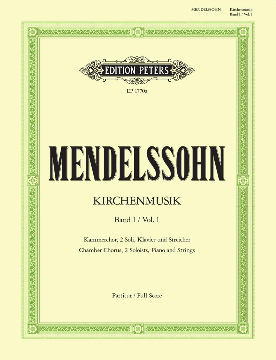 MENDELSSOHN - Kirchenmusik - Volume 1 - Partition - di-arezzo.co.uk