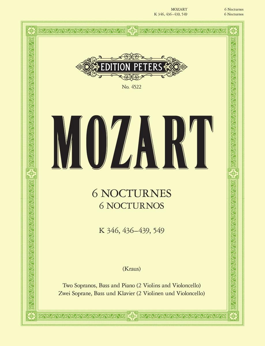 MOZART - 6 Nocturnes - Partition - di-arezzo.co.uk