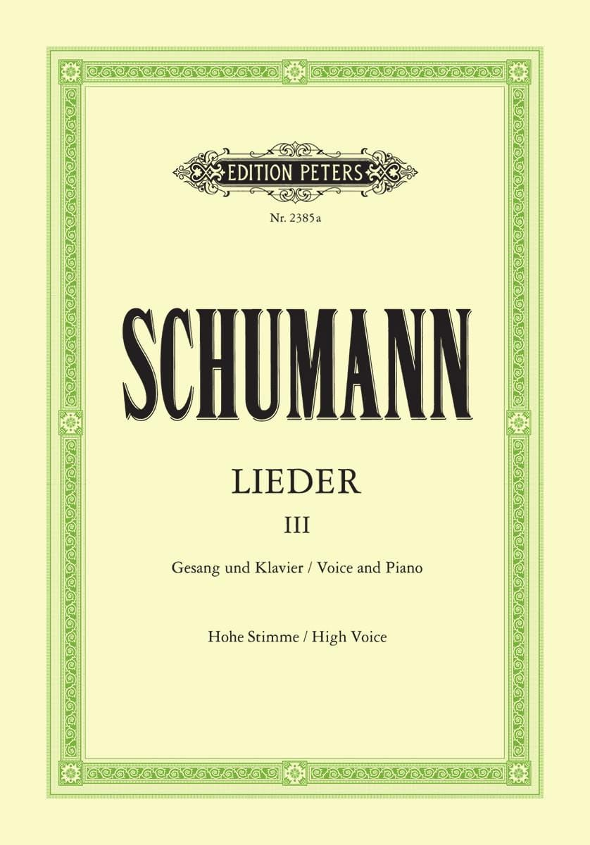 SCHUMANN - Lieder Volume 3. High Voice - Partition - di-arezzo.co.uk