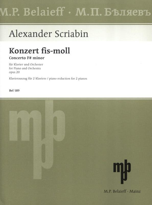 Alexander Scriabine - Piano Concerto in F sharp minor Opus 20. - Partition - di-arezzo.co.uk