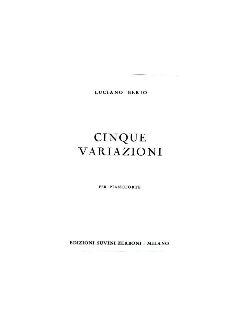 Luciano Berio - 5 Variazioni - Partition - di-arezzo.com