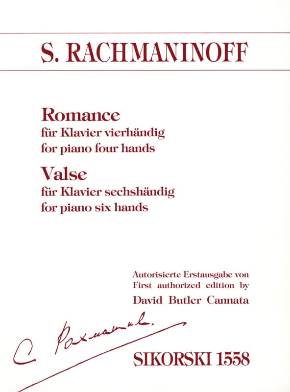 RACHMANINOV - Romance 4 Hands and Waltz 6 Hands - Partition - di-arezzo.co.uk