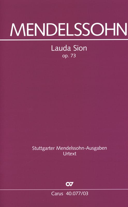 MENDELSSOHN - Lauda Sion Opus 73 - Partition - di-arezzo.co.uk