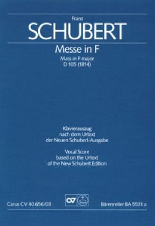 Messe In F D 105 - SCHUBERT - Partition - Chœur - laflutedepan.com