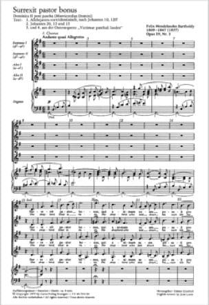 Surrexit Pastor Bonus Opus 39-3 - MENDELSSOHN - laflutedepan.com