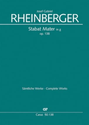 Josef Gabriel Rheinberger - Stabat Mater In Sol Minor Opus 138. Single Choir - Partition - di-arezzo.co.uk
