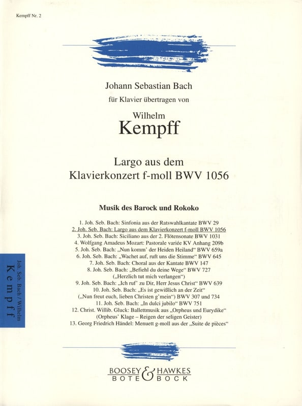 Bach Jean-Sébastien / Kempff Wilhelm - Largo From Concerto BWV 1056 - Partition - di-arezzo.co.uk