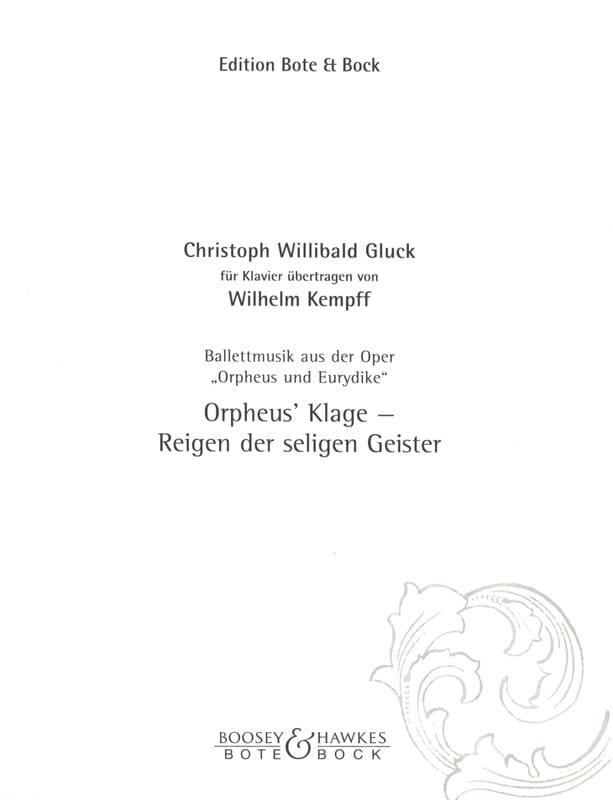 Ballettmusik Aus : Orpheus Und Eurydike - GLUCK - laflutedepan.com