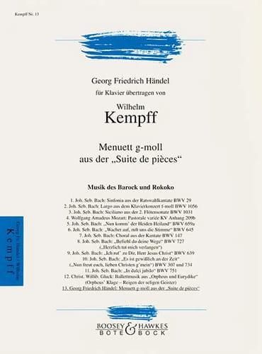 HAENDEL - Minuet in G minor - Partition - di-arezzo.co.uk
