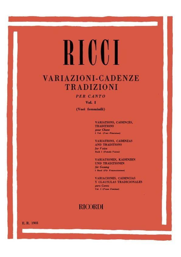 Luigi Ricci - Variations. Cadences. Traditions Volume 1 - Partition - di-arezzo.co.uk