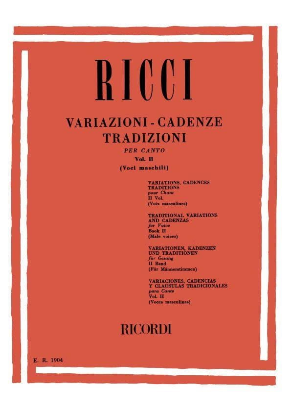 Luigi Ricci - Variationen. Kadenzen. Traditionen Band 2 - Partition - di-arezzo.de