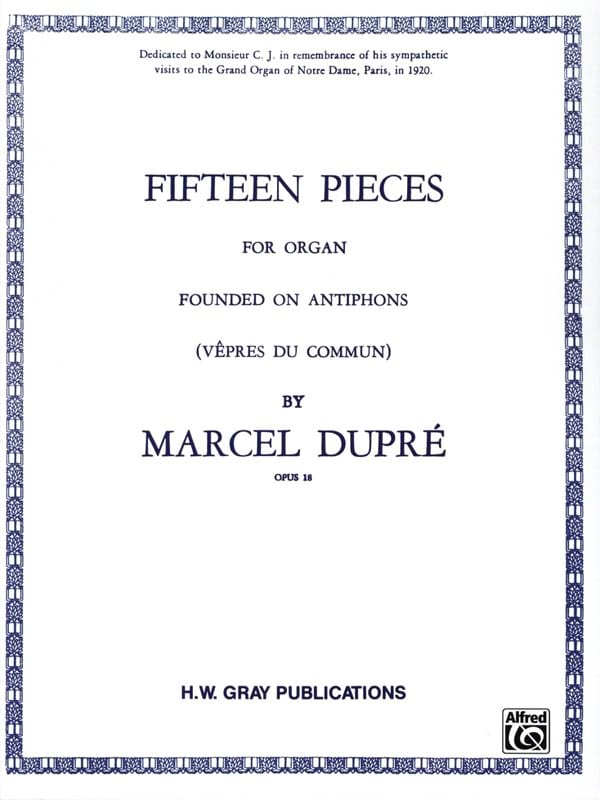 Marcel Dupré - 15 Pieces Opus 18 - Partition - di-arezzo.com