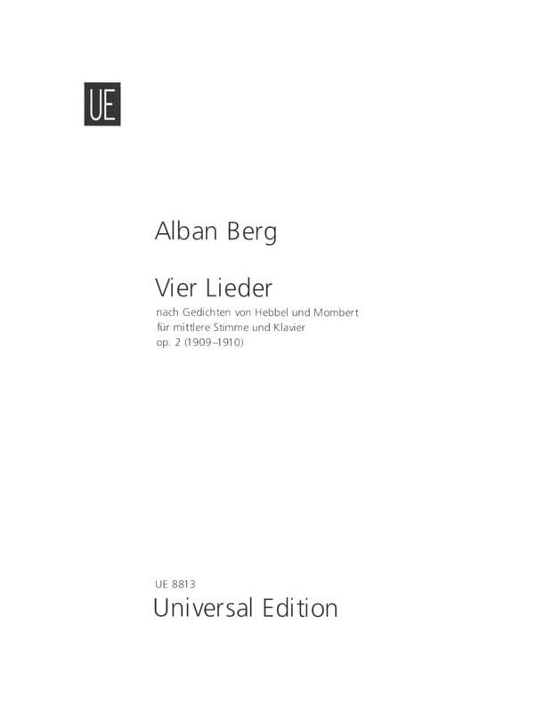 4 Lieder Opus 2 - BERG - Partition - Mélodies - laflutedepan.com