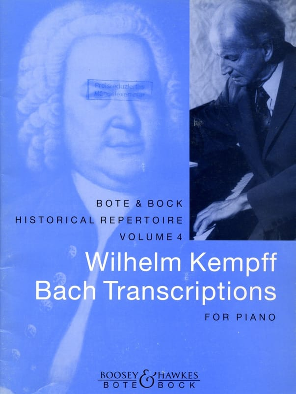 Bach Jean-Sébastien / Kempff Wilhelm - Bach Transcriptions - Partition - di-arezzo.co.uk