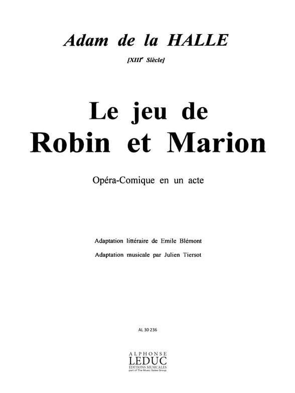 Le Jeu de Robin et Marion - Halle Adam de La - laflutedepan.com