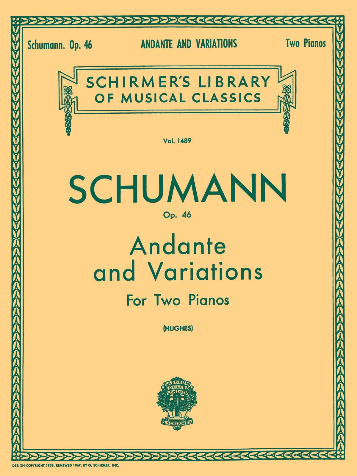 SCHUMANN - Andante and Variations Opus 46 - Partition - di-arezzo.co.uk