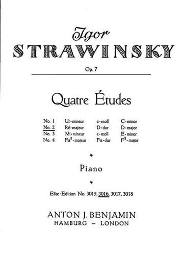 Igor Stravinski - 4 Etudes Opus 7-2 - Partition - di-arezzo.co.uk