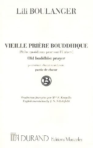 Lili Boulanger - Old Buddhist Prayer. Chorus alone - Partition - di-arezzo.com