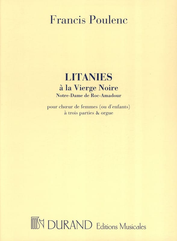 Francis Poulenc - Litanies to the Black Madonna - Partition - di-arezzo.com