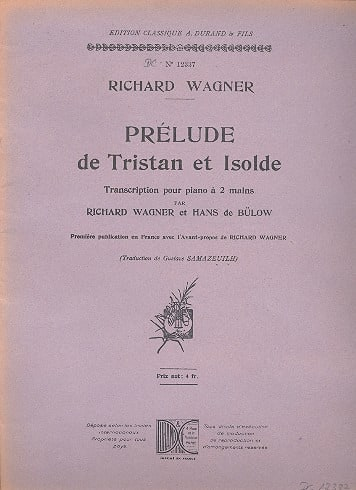 Richard Wagner - Prelude of Tristan and Isolde. Piano - Partition - di-arezzo.co.uk