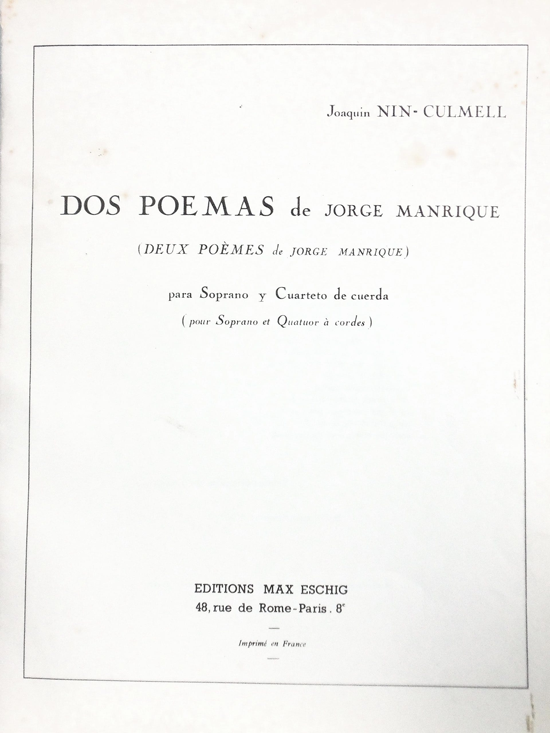 2 Poèmes de Manrique - Joaquin Nin-Culmell - laflutedepan.com