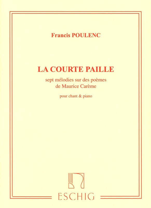 Francis Poulenc - The Short Straw - Partition - di-arezzo.co.uk