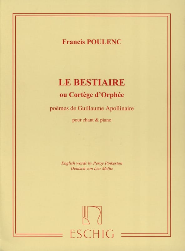 Francis Poulenc - The Bestiary - Partition - di-arezzo.co.uk