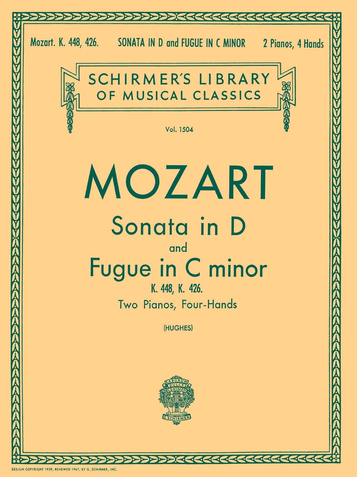 MOZART - Sonata In D Major and Fugue K 448 - 426. 2 Pianos - Partition - di-arezzo.co.uk