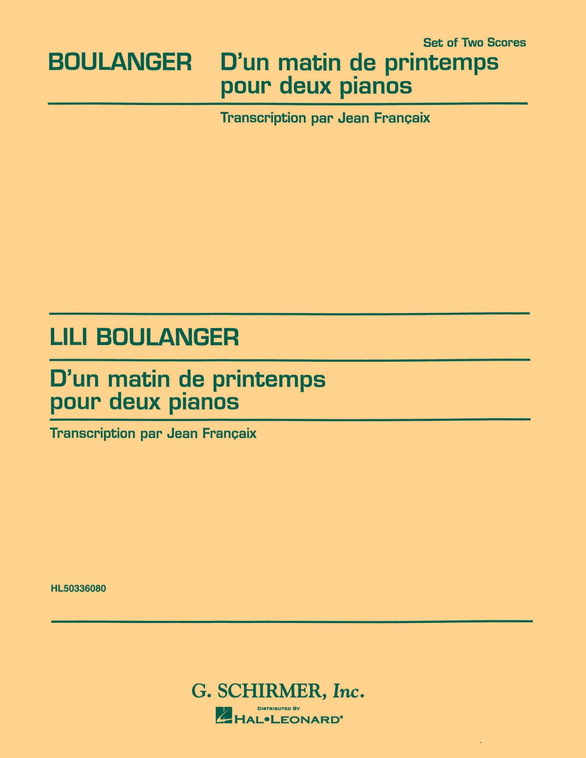 D'un Matin de Printemps. 2 Pianos - Lili Boulanger - laflutedepan.com