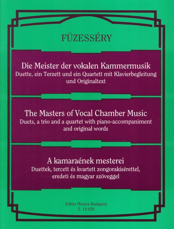 - Masters of Vocal Chamber Music. - Partition - di-arezzo.com