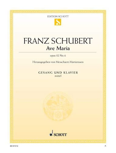 SCHUBERT - Ave Maria. Opus 52-6. Mean Voice - Partition - di-arezzo.co.uk