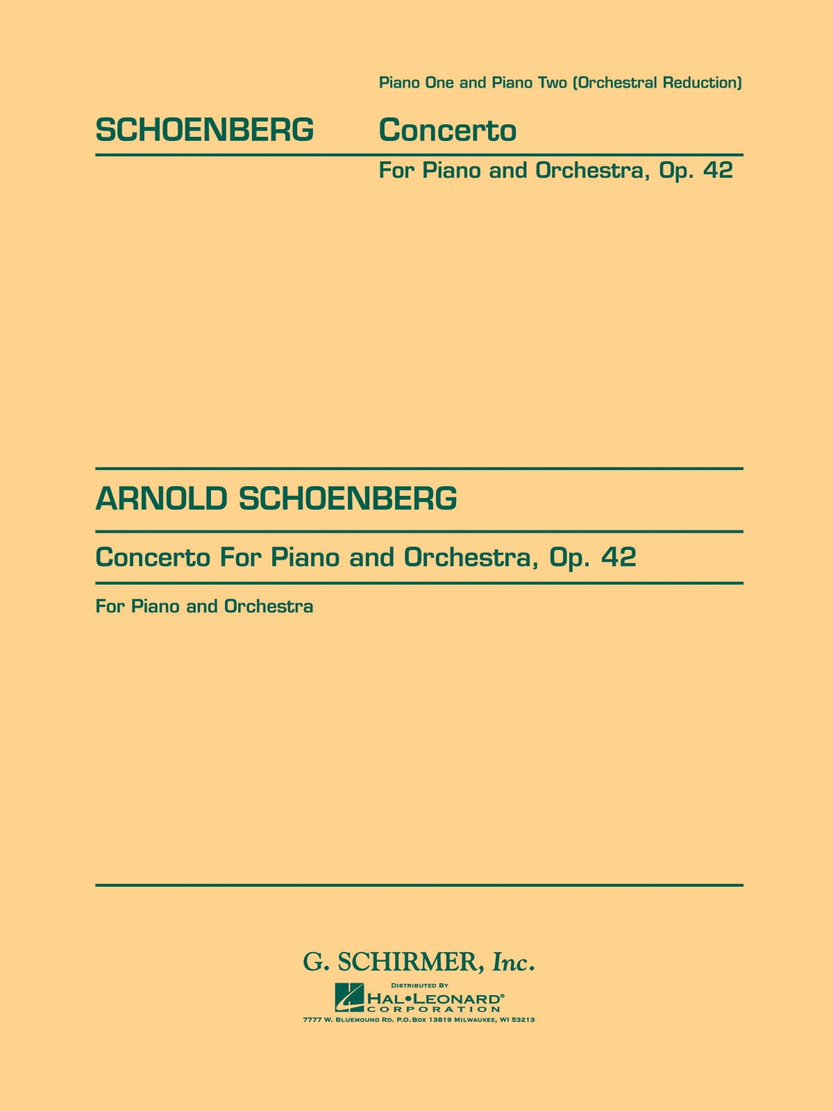 Arnold Schoenberg - Opus Piano Concerto 42 - Partition - di-arezzo.com